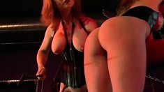 Roxanne Hall gets her ass beaten with a riding crop by Nina Hartley