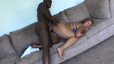 Chubby ebony girl Angie gives a nice blowjob before getting banged hard