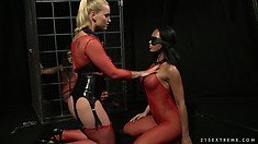 Mistress Kathia's slavegirl clad in red mesh is ready for an anal adventure