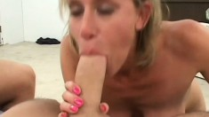 Stacked blonde milf Amber gets picked up on the street and fucked hard by two guys