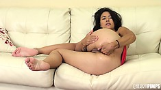 Dana Vespoli enjoys playing her with hairy pussy and finger fucking her butt