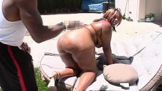 Chubby ebony lady Talishious fulfills her needs with a huge black rod