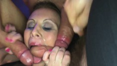Trashy babes have a bunch of guys filling their mouths with hot sperm