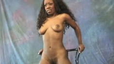 Desirable black chick with nice boobs Dawn reveals her delicious holes