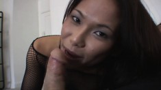 Wild Asian beauty with a spicy ass delivers an outstanding blowjob