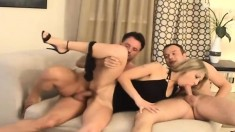 Kristi Lust, Wein Lewis and JJ in a rocking threesome doing two dicks