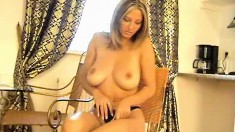 Astonishing blonde with big hooters Vanessa loves to please herself