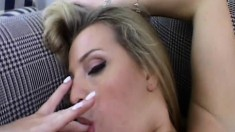 Milena Santos blows a rod and then spreads her legs to get banged good