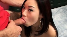 Tanya Kwan gets drilled deep and finishes her man off with her mouth