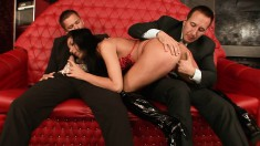 Stacked chick in black boots invites three guys for a bachelor party