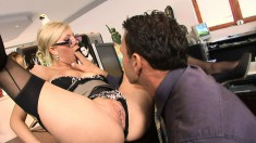Slutty secretary in black lingerie Donna Bell is addicted to anal sex