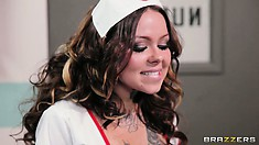 Stunning tattooed nurse with seductive body gives him the help he needs