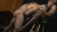 Two gorgeous leather loving black studs play out their anal fantasies