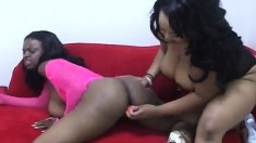 Big breasted black milfs Xxxplosive and Ms Juicy make each other cum