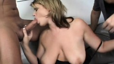 Sensuous blonde milf with big natural breasts enjoys a double fucking