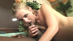 Sensuous Young Blonde Has A Black Cock Making Her Shaved Slit All Wet