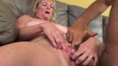 Stacked blonde milf loves to get her shaved pussy licked and drilled