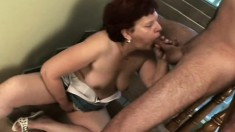 Lustful redhead mom Catarin feeds her lust for hard sex and hot semen