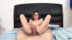 Busty babe Kinsley Eden gets rocked and chews on his meet stick