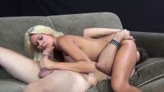 Buxom blonde beauty Katie Summers relishes the pussy drilling session