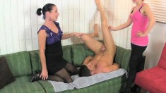 Amanda Winchester and Miss Dee giving Lance Hart a marvelous handjob