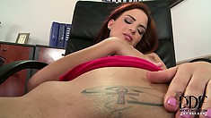 Hot redhead is a naughty girl and plays with her tattooed twat at work