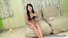 Smoking hot japanese cutie gets wet through her pink panties