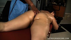 In the gym, the chubby Twilight Starr strips off her clothes to enjoy a relaxing massage