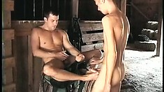 Now they get into some foot fetish as he uses his feet to jerk his gay lover off