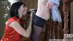 Beatrice and Mireille enjoy a tasty pussy now and again and suck a strap-on