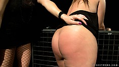 Gorgeous brunette turns into the plaything of a lesbian mistress