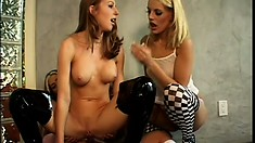 Lusty girls scream with pleasure in a naughty girl on girl action