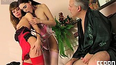 Horny old man watches the beautiful lesbians Judith and Alice pleasing each other