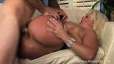 Buxom blonde cougar in sexy black stockings can't resist a young guy with a big dick