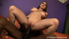 Stacked brunette with a big booty Cassandra Calogera is addicted to black cock