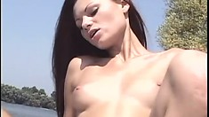 Pussy-loving college girl seduces and strips her sexy friend on the beach