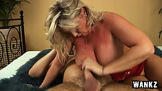 Busty blonde lady enjoys having a thick dick shoved in her pussy