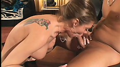 It's this long haired hippy's lucky day when a busty MILF takes over his boner
