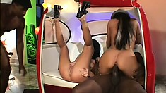 Kinky brunette bitches give themselves up to big black dicks