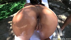With the sun kissing her skin, Cassandra enjoys every stroke of cock in her ass