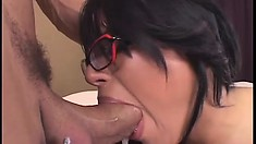 Naughty busty chick with glasses gets carnal with a hung stud