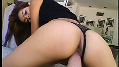 Hung dude has an exotic girl with a perfect ass riding his cock in POV