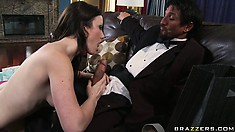 Wanting to satisfy her needs the sexy brunette with lovely tits seduces the butler