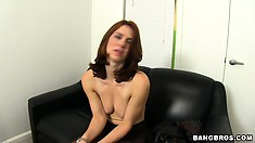 Horny brunette fingering her holes in a solo video for a porn audition