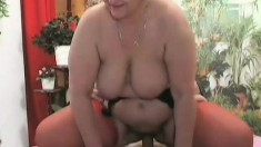 Fat as fuck hoochie mama in lingerie gets stuffed balls deep