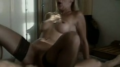 British blondie and her aged lover engaging in some steamy anal sex