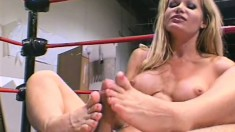 Busty Barett Moore takes his cock down, in the ring and on the couch