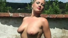 Patricia suctions her tit and cums all over her fuck machine