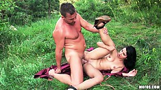 The hot babe gets her pussy banged in various positions and moans with delight