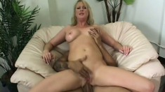 Busty blonde MILF gets destroyed by an eager young man's rod